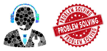 Collage service manager and corroded stamp seal with Problem Solving caption. Mosaic vector is created with service manager icon and with scattered spheric elements. Ilustrace