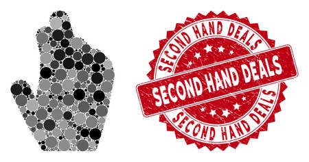Mosaic manage hand and distressed stamp seal with Second Hand Deals phrase. Mosaic vector is created with manage hand icon and with randomized circle spots.