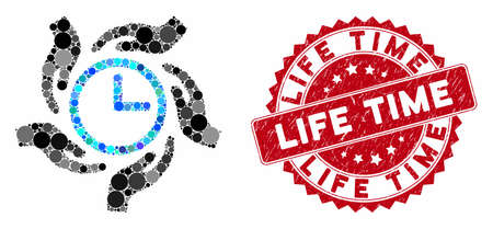 Mosaic time care and distressed stamp seal with Life Time caption. Mosaic vector is composed with time care icon and with randomized circle elements. Life Time stamp seal uses red color,