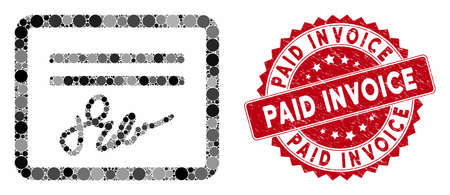 Mosaic signed cheque and rubber stamp seal with Paid Invoice text. Mosaic vector is created with signed cheque icon and with randomized spheric spots. Paid Invoice seal uses red color, Ilustrace