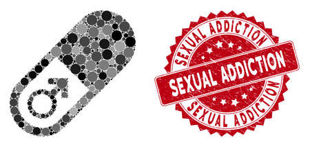 Mosaic male power pill and rubber stamp seal with Sexual Addiction phrase. Mosaic vector is designed with male power pill icon and with scattered spheric elements.