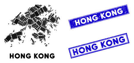 Mosaic Hong Kong map and rectangle seal stamps. Flat vector Hong Kong map mosaic of scattered rotated rectangle items. Blue caption seal stamps with grunge surface.