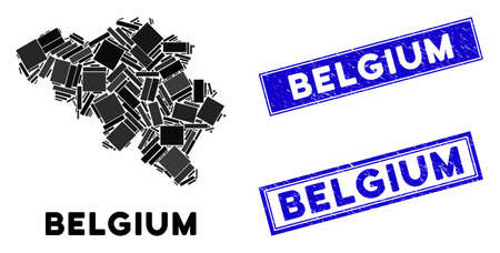 Mosaic Belgium map and rectangular rubber prints. Flat vector Belgium map mosaic of randomized rotated rectangular elements. Blue caption rubber seals with rubber textures.