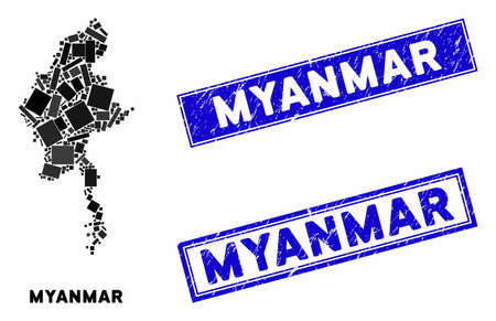 Mosaic Myanmar map and rectangular watermarks. Flat vector Myanmar map mosaic of random rotated rectangular items. Blue caption watermarks with distress texture.
