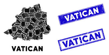 Mosaic Vatican map and rectangle stamps. Flat vector Vatican map mosaic of random rotated rectangle elements. Blue caption rubber stamps with rubber textures. Ilustrace