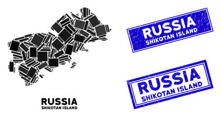 Mosaic Shikotan Island map and rectangular stamps. Flat vector Shikotan Island map mosaic of randomized rotated rectangle items. Blue caption rubber stamps with rubber textures.