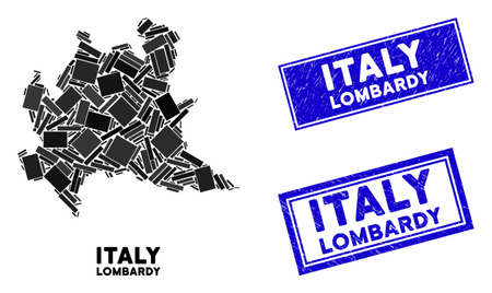 Mosaic Lombardy region map and rectangular seals. Flat vector Lombardy region map mosaic of scattered rotated rectangular elements. Blue caption rubber seals with grunge texture.