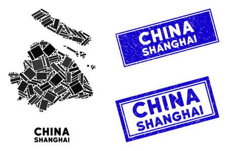 Mosaic Shanghai City map and rectangular seal stamps. Flat vector Shanghai City map mosaic of random rotated rectangular items. Blue caption stamps with grunge texture. Ilustração