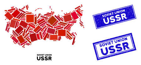 Mosaic USSR map and rectangle rubber prints. Flat vector USSR map mosaic of randomized rotated rectangle items. Blue caption rubber stamps with corroded textures. 向量圖像