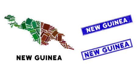 Mosaic New Guinea countries map and rectangular seals. Flat vector New Guinea countries map mosaic of random rotated rectangular items. Blue caption rubber seals with scratched texture. Vector Illustration
