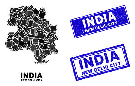 Mosaic New Delhi City map and rectangular seals. Flat vector New Delhi City map mosaic of scattered rotated rectangular items. Blue caption seals with corroded texture.