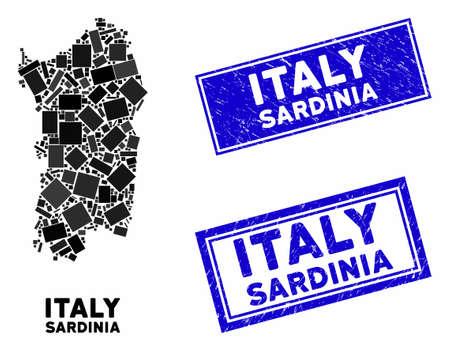 Mosaic Italian Sardinia Island map and rectangular seal stamps. Flat vector Italian Sardinia Island map mosaic of scattered rotated rectangular items. Blue caption rubber stamps with rubber texture.