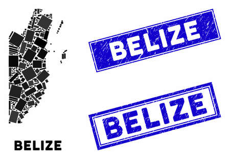 Mosaic Belize map and rectangular watermarks. Flat vector Belize map mosaic of randomized rotated rectangular elements. Blue caption stamp imprints with distress surface. Vectores
