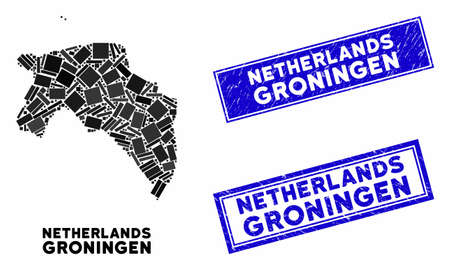 Mosaic Groningen Province map and rectangle seal stamps. Flat vector Groningen Province map mosaic of randomized rotated rectangle items. Blue caption seal stamps with grunged texture.