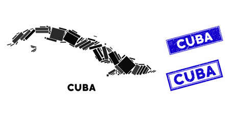 Mosaic Cuba map and rectangle seal stamps. Flat vector Cuba map mosaic of scattered rotated rectangle items. Blue caption seal stamps with grunge surface.