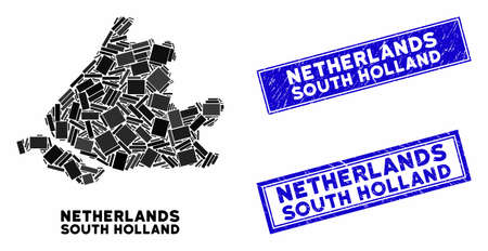 Mosaic South Holland map and rectangular seal stamps. Flat vector South Holland map mosaic of random rotated rectangular elements. Blue caption seal stamps with grunge surface.