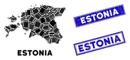 Mosaic Estonia map and rectangular rubber prints. Flat vector Estonia map mosaic of random rotated rectangular items. Blue caption rubber stamps with corroded surface.