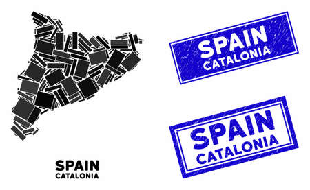 Mosaic Catalonia map and rectangle seal stamps. Flat vector Catalonia map mosaic of randomized rotated rectangular items. Blue caption rubber stamps with rubber surface.