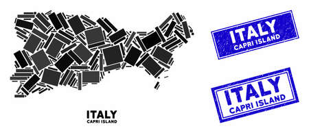 Mosaic Capri Island map and rectangular seal stamps. Flat vector Capri Island map mosaic of randomized rotated rectangular items. Blue caption seal stamps with grunged surface.