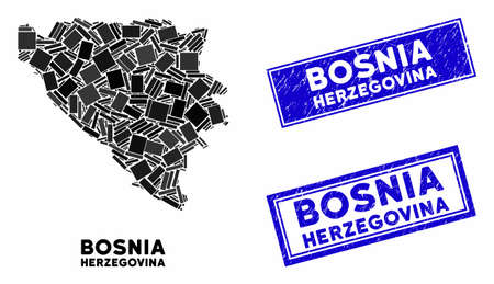Mosaic Bosnia and Herzegovina map and rectangular stamps. Flat vector Bosnia and Herzegovina map mosaic of scattered rotated rectangular elements. Blue caption stamps with grunge textures.