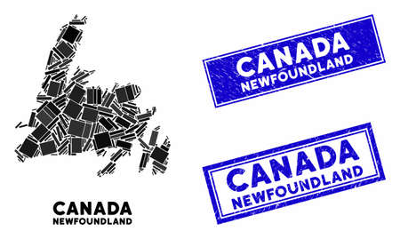 Mosaic Newfoundland Island map and rectangular stamps. Flat vector Newfoundland Island map mosaic of randomized rotated rectangular items. Blue caption stamps with grunged texture. Banque d'images - 133432323