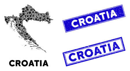 Mosaic Croatia map and rectangle seal stamps. Flat vector Croatia map mosaic of randomized rotated rectangle items. Blue caption stamps with corroded surface. Ilustração