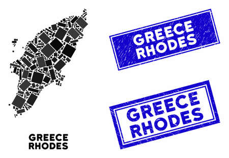 Mosaic Greek Rhodes Island map and rectangle rubber prints. Flat vector Greek Rhodes Island map mosaic of scattered rotated rectangle items. Blue caption rubber stamps with distress texture. Vettoriali