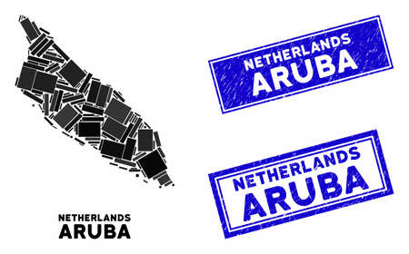 Mosaic Aruba Island map and rectangular seal stamps. Flat vector Aruba Island map mosaic of randomized rotated rectangular elements. Blue caption stamps with grunge surface. Иллюстрация