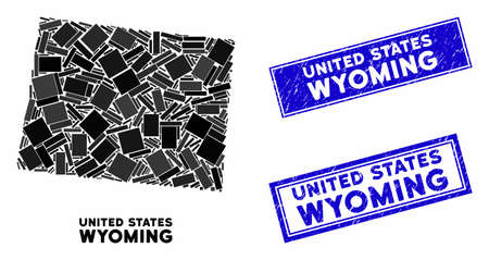 Mosaic Wyoming State map and rectangle rubber prints. Flat vector Wyoming State map mosaic of random rotated rectangle elements. Blue caption rubber seals with rubber texture. 일러스트