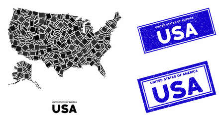 Mosaic USA with Alaska map and rectangle stamps. Flat vector USA with Alaska map mosaic of random rotated rectangle elements. Blue caption stamps with dirty textures. Фото со стока - 133432537