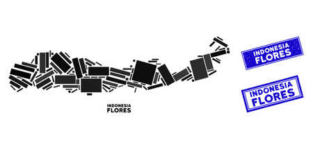 Mosaic Flores Island of Indonesia map and rectangle seal stamps. Flat vector Flores Island of Indonesia map mosaic of random rotated rectangle elements.