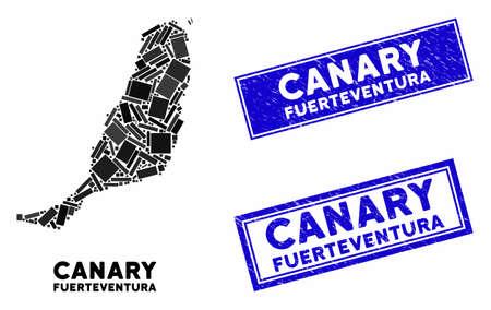 Mozaika Fuerteventura Mapa wyspy i prostokątne pieczęcie. Płaskie wektor Fuerteventura Island mapa mozaiki losowo obróconych elementów prostokąta. Niebieskie nadruki na znaczkach z powierzchnią grunge.