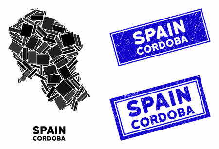 Mosaic Cordoba Spanish Province map and rectangle seal stamps. Flat vector Cordoba Spanish Province map mosaic of randomized rotated rectangle items. Blue caption seal stamps with distress texture.