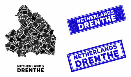Mosaic Drenthe Province map and rectangular stamps. Flat vector Drenthe Province map mosaic of random rotated rectangular elements. Blue caption seal stamps with corroded surface.