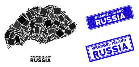 Mosaic Wrangel Island map and rectangular stamps. Flat vector Wrangel Island map mosaic of scattered rotated rectangular elements. Blue caption rubber stamps with grunge surface.
