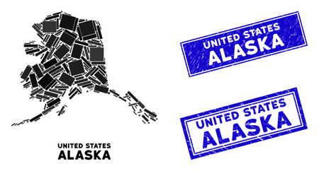 Mosaic Alaska map and rectangle seal stamps. Flat vector Alaska map mosaic of random rotated rectangle items. Blue caption seal stamps with rubber texture.