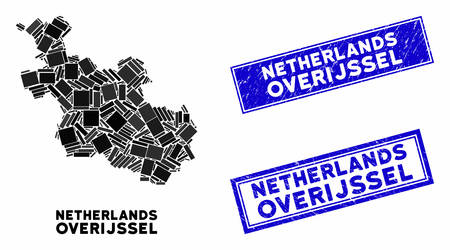 Mosaic Overijssel Province map and rectangular seal stamps. Flat vector Overijssel Province map mosaic of random rotated rectangle items. Blue caption seal stamps with grunge textures. Иллюстрация
