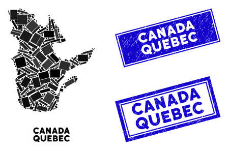 Mosaic Quebec Province map and rectangular seal stamps. Flat vector Quebec Province map mosaic of scattered rotated rectangular items. Blue caption seal stamps with rubber surface.  イラスト・ベクター素材