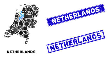 Mosaic Netherlands map and rectangle seals. Flat vector Netherlands map mosaic of scattered rotated rectangle items. Blue caption seals with corroded textures. Иллюстрация