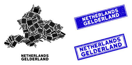 Mosaic Gelderland Province map and rectangular seal stamps. Flat vector Gelderland Province map mosaic of random rotated rectangular items. Blue caption stamps with grunged surface.