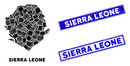 Mosaic Sierra Leone map and rectangle seal stamps. Flat vector Sierra Leone map mosaic of randomized rotated rectangle elements. Blue caption seal stamps with distress texture. Illusztráció