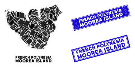 Mosaic Moorea Island map and rectangle seal stamps. Flat vector Moorea Island map mosaic of random rotated rectangle items. Blue caption rubber stamps with distress texture.
