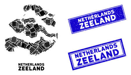 Mosaic Zeeland Province map and rectangle stamps. Flat vector Zeeland Province map mosaic of randomized rotated rectangle items. Blue caption seal stamps with scratched surface.