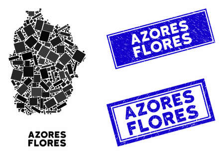 Mosaic Flores Island of Azores map and rectangle watermarks. Flat vector Flores Island of Azores map mosaic of randomized rotated rectangle items. Blue caption seals with dirty surface.