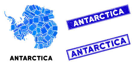 Mosaic Antarctica map and rectangle rubber prints. Flat vector Antarctica map mosaic of randomized rotated rectangle elements. Blue caption rubber seals with scratched texture.