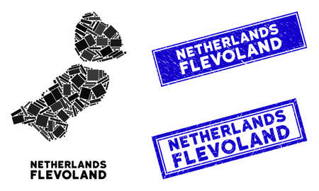 Mosaic Flevoland Province map and rectangle seal stamps. Flat vector Flevoland Province map mosaic of scattered rotated rectangle elements. Blue caption stamps with distress texture.