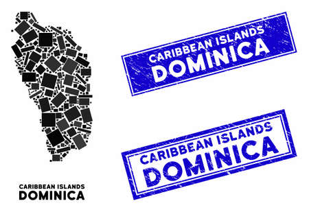 Mosaic Dominica Island map and rectangle seals. Flat vector Dominica Island map mosaic of randomized rotated rectangle elements. Blue caption seal stamps with grunge textures.