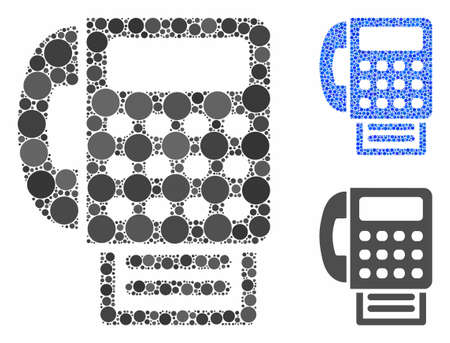 Fax machine composition of small circles in variable sizes and color tones, based on fax machine icon. Vector small circles are grouped into blue composition.