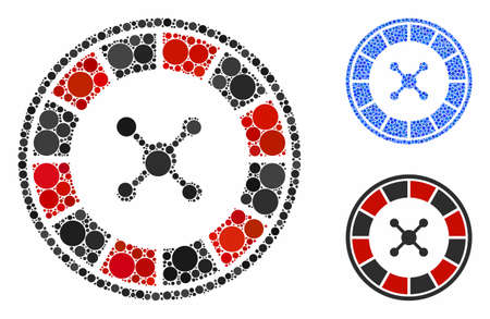 Roulette composition of round dots in different sizes and color hues, based on roulette icon. Vector round dots are organized into blue composition. Dotted roulette icon in usual and blue versions.