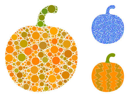 Pumpkin mosaic of round dots in variable sizes and color tinges, based on pumpkin icon. Vector round dots are combined into blue illustration. Dotted pumpkin icon in usual and blue versions.